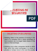 Delisting of Securities & Financial Restructuring