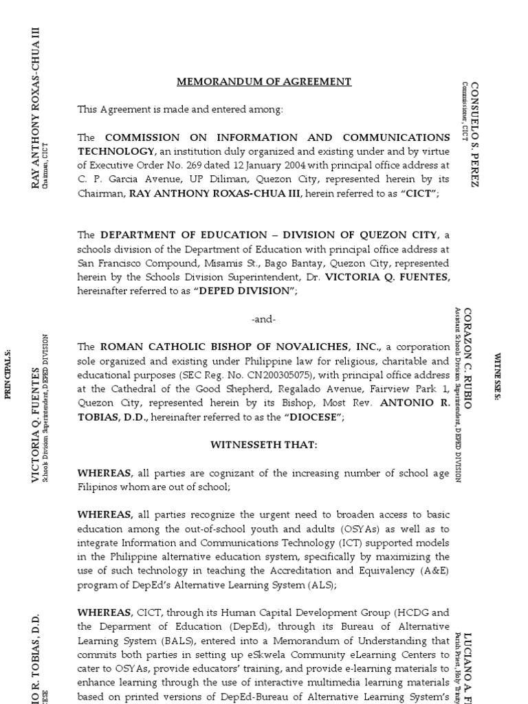 Sample eSkwela MOA (Holy Trinity Parish) | Educational Technology | Learning