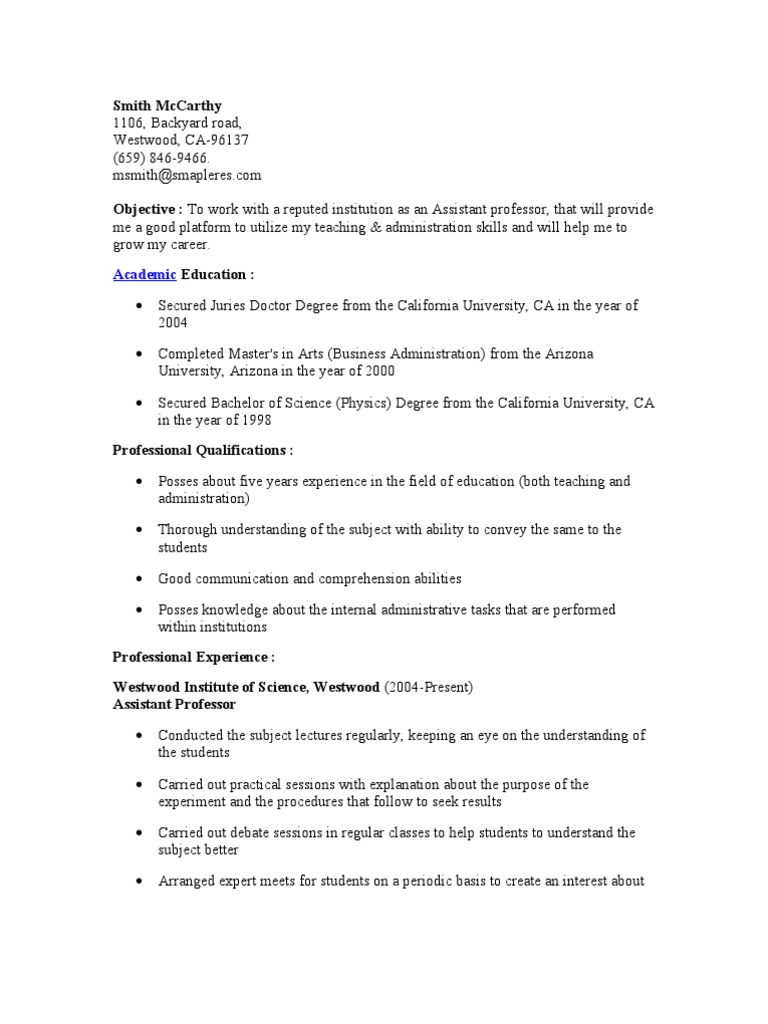 Assistant Professor Resume University Academic Degree