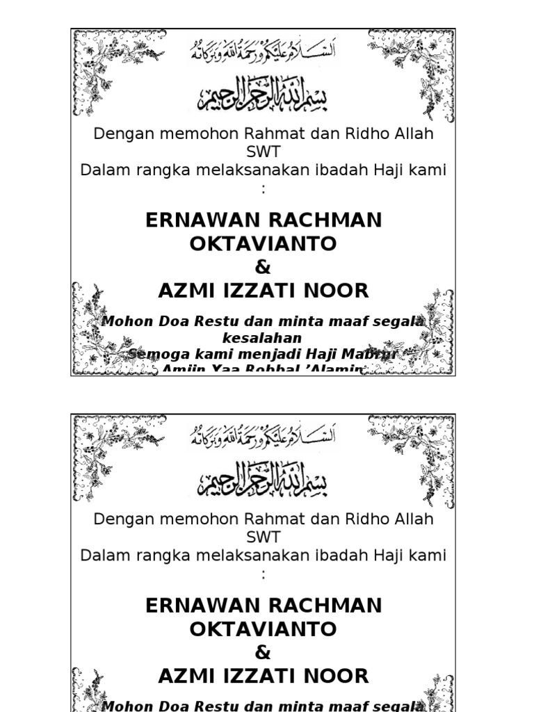 Ucapan Berangkat Haji