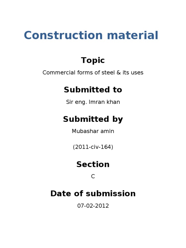 Commerical Forms of Steel | Structural Engineering | Civil