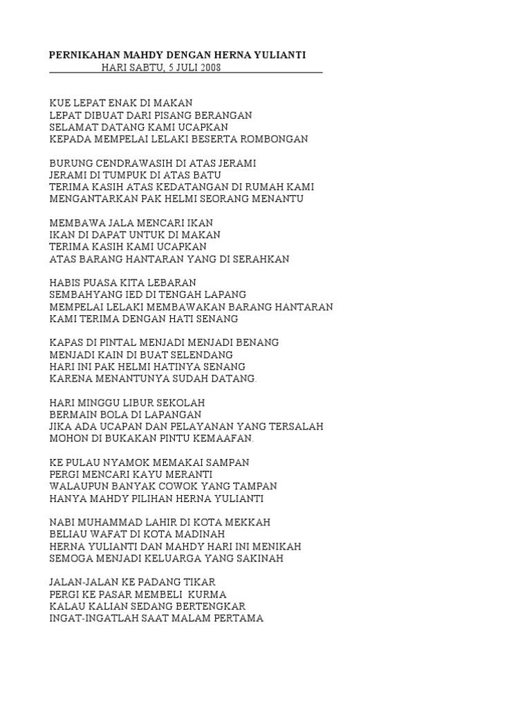 Pantun Ucapan Terima Kasih Bahasa Banjar