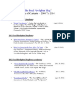 Feral Firefighter Blog Table of Contents (Updated 4-03-14)