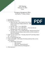 CERT Meeting Agenda 2012-02-27