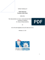Written Testimony of Robert Weissman President, Public Citizen before the The Subcommittee on Courts, Commercial and Administrative Law Committee on Judiciary U.S. House of Representatives on H.R. 4078, the Regulatory Freeze for Jobs Act of 2012 February 27, 2012