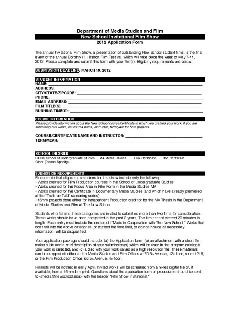 Application Form  Filmmaking  Academia