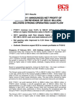 SGX-Listed ECS' FY2011 ANNOUNCES NET PROFIT OF S$39.2M ON REVENUE OF S$3.61 BILLION; DELIVERS STRONG OPERATING CASH FLOW