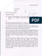 Letter to Advocate General