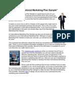 International Marketing Plan Sample