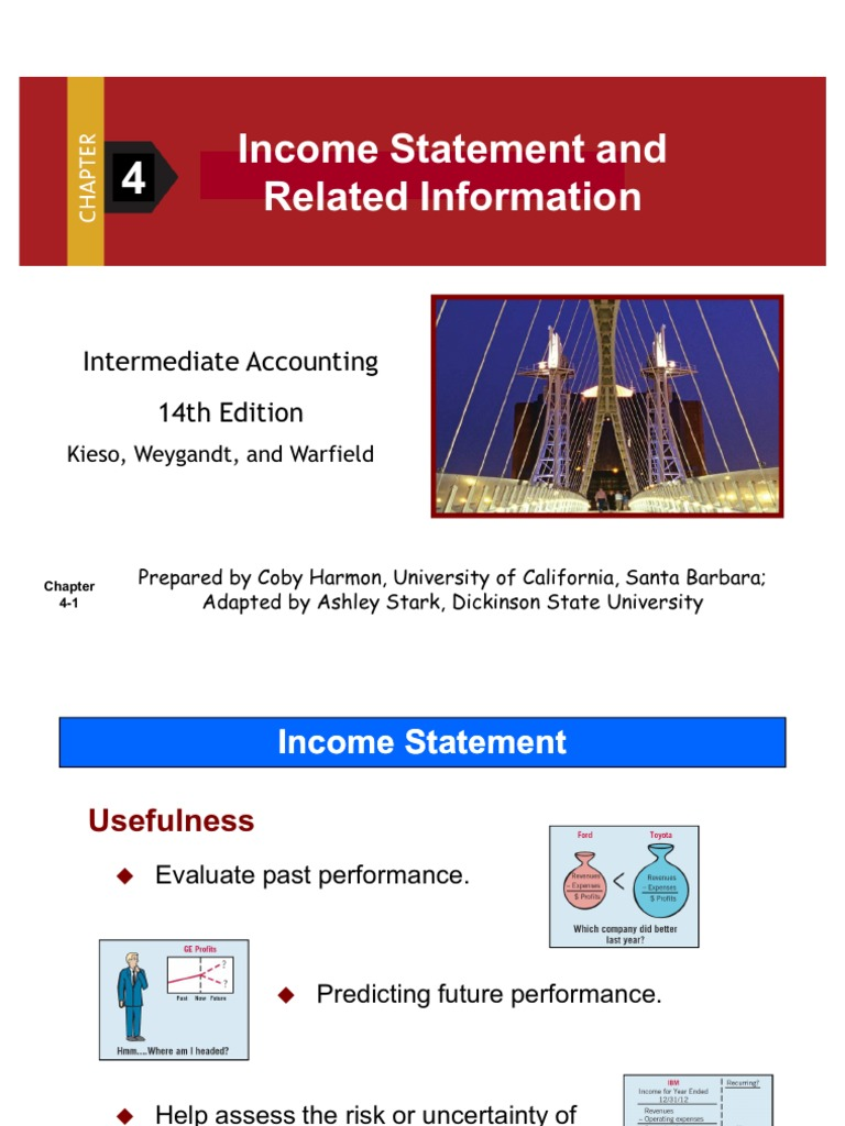 chapter 4 income statement 4-1 1 the concept of income 2 why income measure is important 3 how income is measured 4 the format of an income statement 5 the components of an income statement.