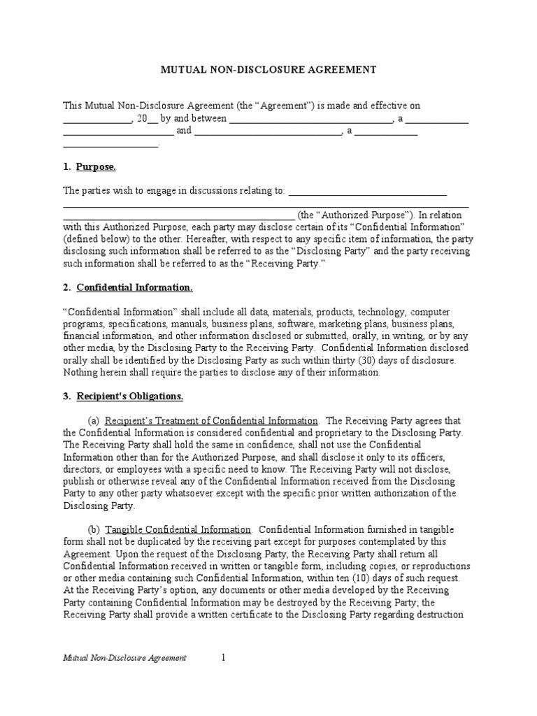 Mutual Nda Non Disclosure Agreement Confidentiality