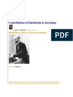 Contribution of Durkheim to Sociology