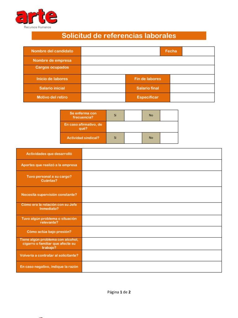 Formato de Solicitud de Referencias Laborales