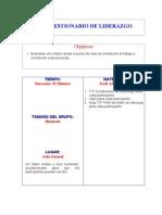 T-P CUESTIONARIO DE LIDERAZGO Evaluarse uno mismo desde el punto de vista de orientación al trabajo y orientación a las personas.