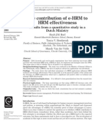 Contribution of E-HRM to HRM Effectivess