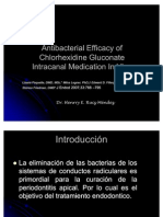 eficacia de la clorhexidina como medicacion intraconducto, endodoncia, medicacion intraconducto