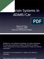 Power Train Systems in ADAMS Car