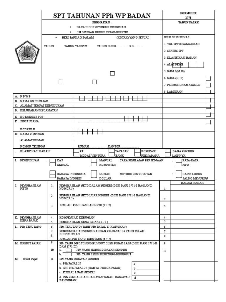 Spt Tahunan Pph Wp Badan Formulir 1771