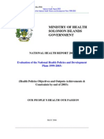 National Health Report 2003-Solomon Islands