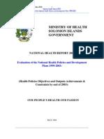 National Health Report 2003-Solomon Islands
