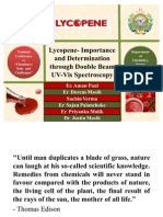 Lycopene-Importance and Determination Through Double Beam UV-Vis Spectroscopy