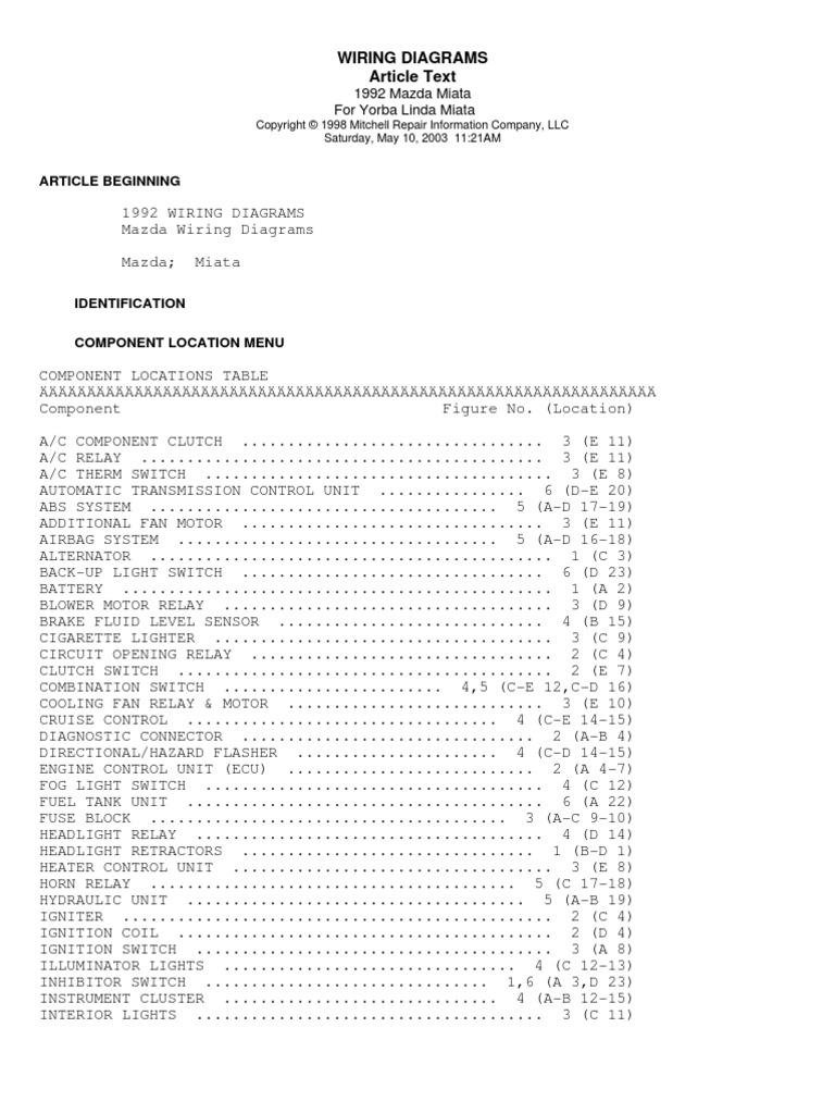 1999 Miata Wiring Diagram
