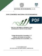 """""""Hacia un Modelo Económico Equilibrado"""", XVIII Congreso Nacional de Economistas Querétaro 2010."""