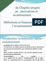 thème 3 investissement-progrès technique - définition financement investissement