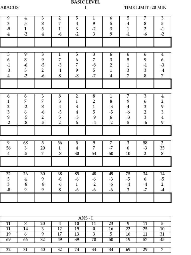 Printables Of Abacus Worksheets For Level 1 Geotwitter Kids Activities