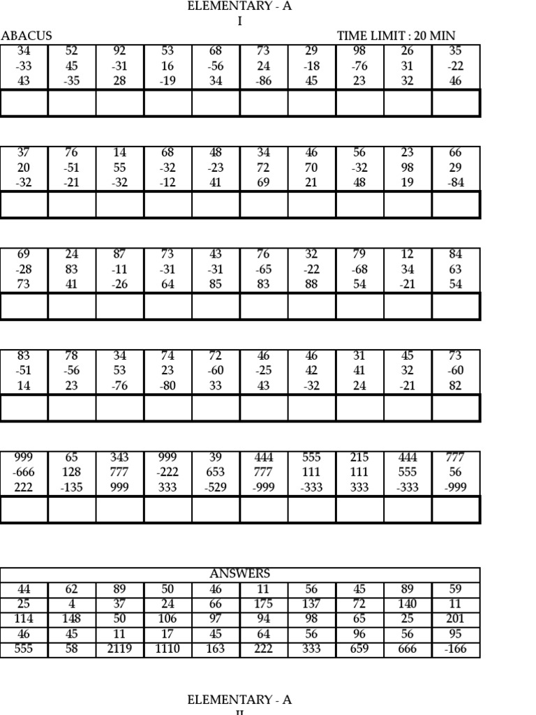 Maths Abacus Worksheets on Aloha Mental Math Worksheets