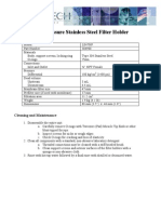 High Pressure Stainless Steel Filter Holder Specifications and Instructions
