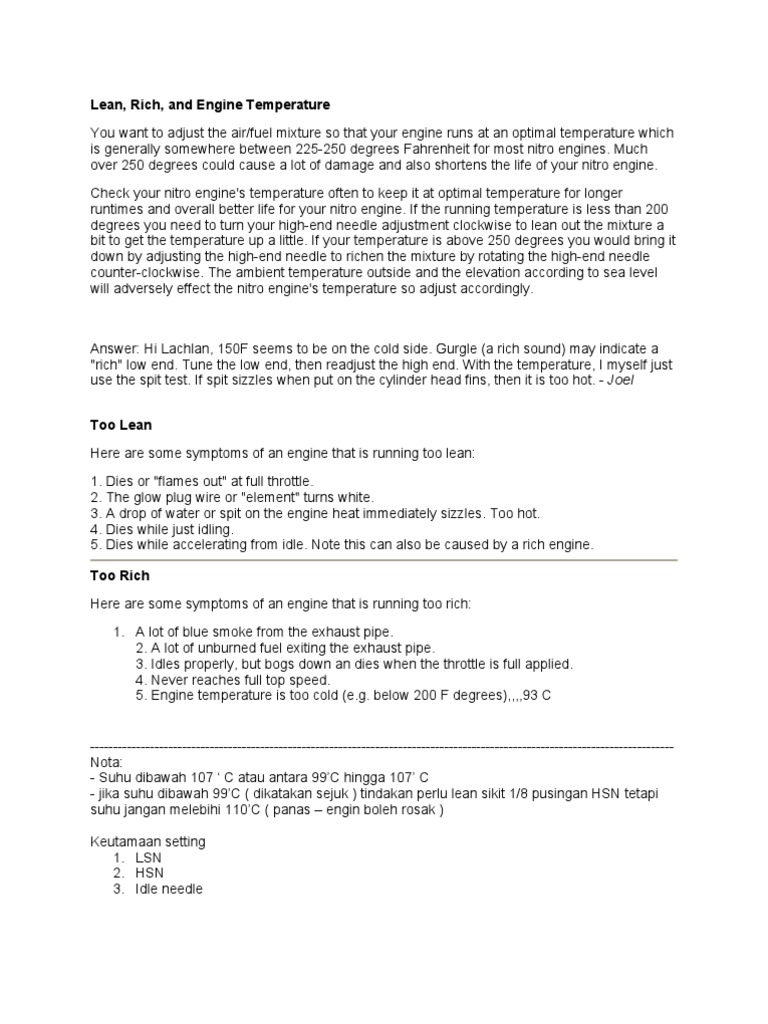 Rc Engine Setting | Carburetor | Engine Technology