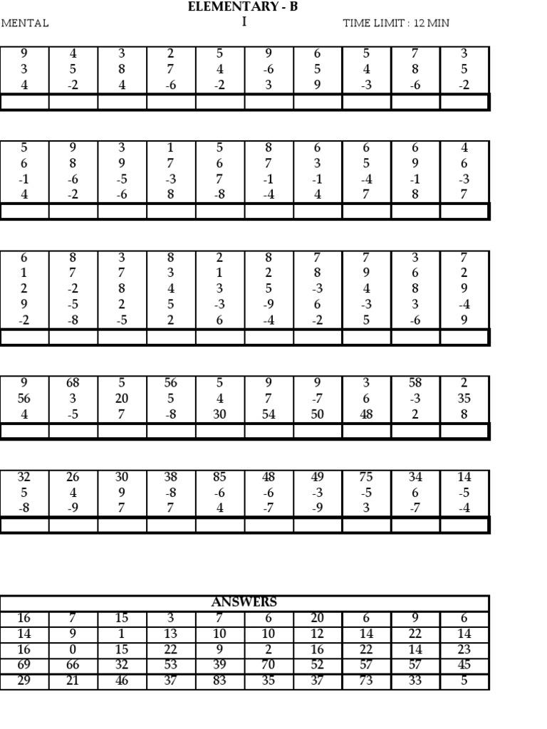 UCMAS Elementary B – Abacus Worksheets