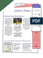 February 2012 Newsletter for Mrs. Desiree's Class