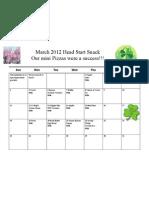 March Head Start Snack 2012