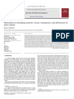 Motorization in Developing Countries - Causes, Consequences, And Effectiveness of Policy Options
