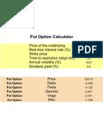 Options Greeks Calculator