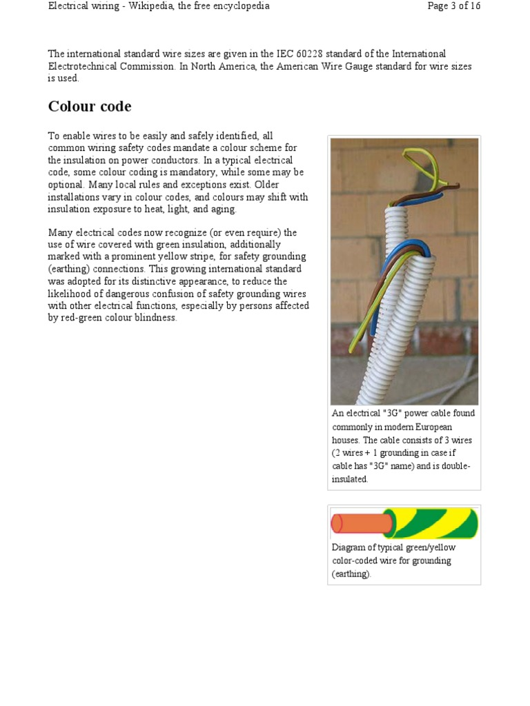 Electrical Wiring Wire Color Code Requirements