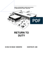 US Army Medical Course MD0550-100 - Return to Duty