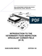US Army Medical Course MD0702-100 - Introduction to the Veterinary Food Inspection Specialist Career Field (Mos 91r)