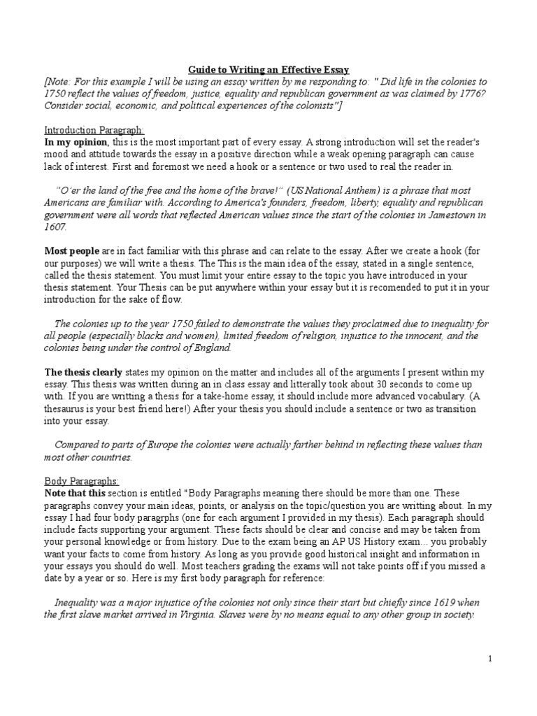 Guide to writing an effective ap us history essay essays liberty