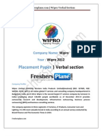 Wipro Verbal Section Paper 1 2012