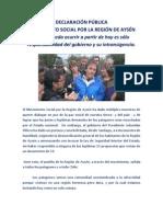 DECLARACIÓN PÚBLICA MOVIMIENTO SOCIAL POR AYSEN