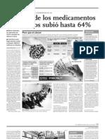 NOTICIA - EL PRECIO DE LOS MEDICAMENTOS ONCOLOGICOS SUBIO HASTA UN 64%