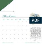 March 2012 Meal Plan Blank Calendar