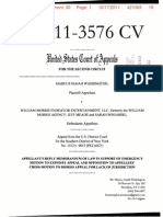 Washington v. William Morris Endeavor Ent. et al. (11-3576) -- Appellant's Reply Motion To Expedite Appeal and Opposition to Appellees' Cross-Motion to Dismiss Appeal for Lack of Jurisdiction [October 17, 2011]