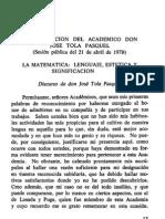 José Tola Pasquel. La matemática