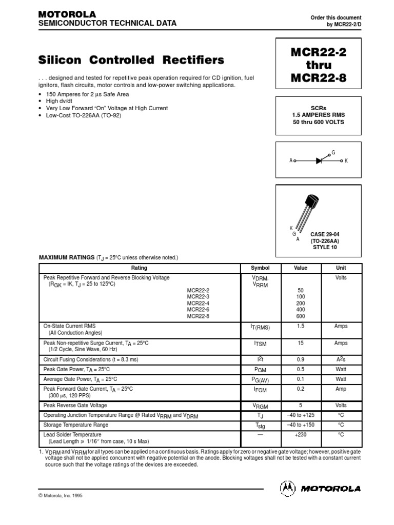 Circuito Com Scr Tic 106 : Mcr field effect transistor electrical components