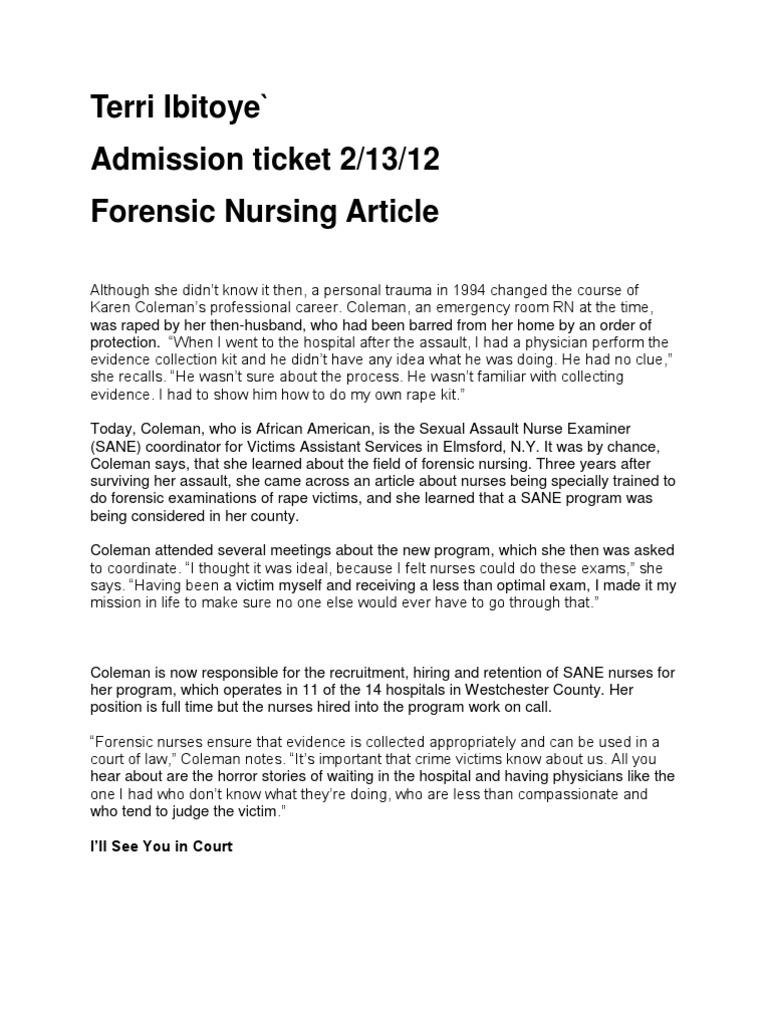 Forensic Nursing Article 21312 Admission Ticket Nursing Forensic