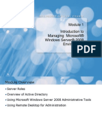 Module 1 Introduction to Managing Microsoft Windows Server 2008 Environment